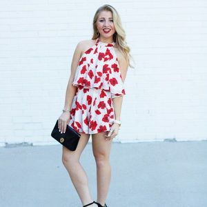 Pants - Red & White Floral Two Piece Set